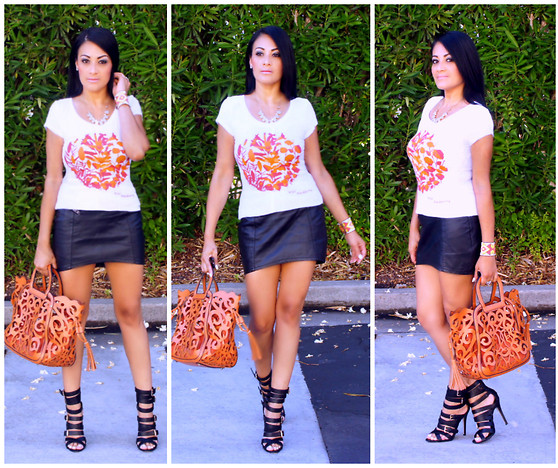 Marina Hidalgo - Orange Sophisticated Tee, Oasap Fashion Floral Cutout Handbag, Shoedazzle Strappy Heeled Sandals - Wild Blackberry Sophisticated Tee