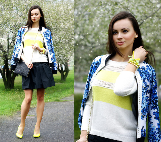 Anna Mour ♥ - Esther Silk Blue Bouquet Bomber, Forever 21 Sweater, Idol By Serge Smolin Silk Skater Skirt - Mix&match