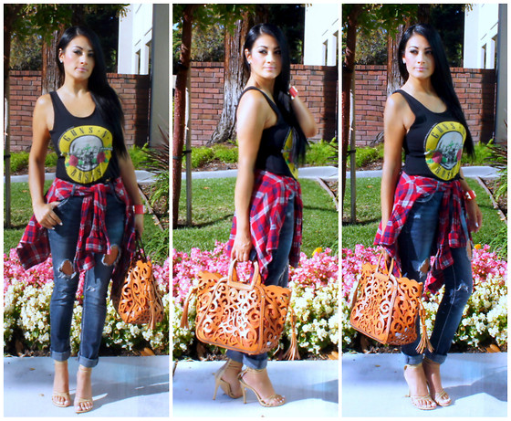 Marina Hidalgo - Target Plaid Shirt, Chicnova Guns N Roses Crop Top, Oasap Fashion Floral Cutout Handbag, Gojane Heeled Sandals, T.J. Maxx Distressed Jeans - Glamour Is A State Of Mind