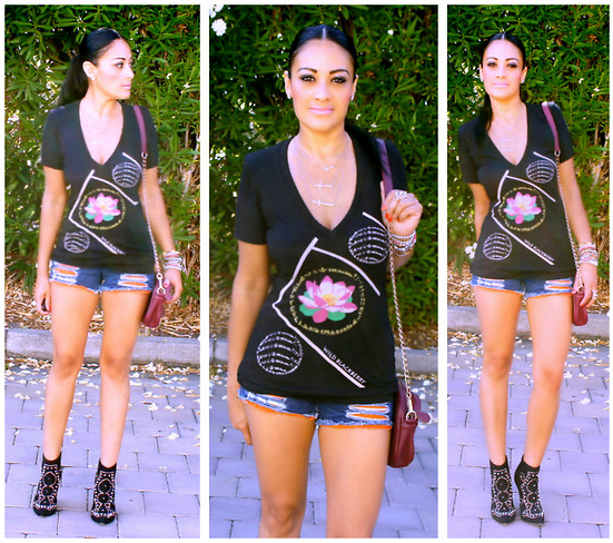 Marina Hidalgo - Wild Blackberry Lotus Sophisticated Tee, Romwe Distressed Shorts, Forever 21 Studded Booties, H&M Bracelets - Love Is The Absence Of Judgement