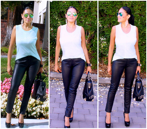 Marina Hidalgo - Elle B Bombshell Tank, Oasap Studded Handbag, Romwe Faux Leather Pants, Shoedazzle Pumps, Ray Ban Sunglasses - Bombshell Tee