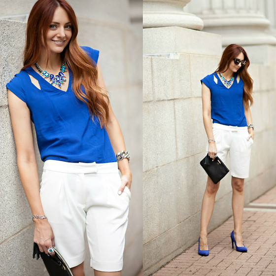 Jackie Welling - Asos Cobalt Blue Cutout Top, Sophie Rue White Shorts - Blue & White