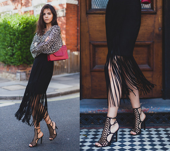Doina Ciobanu - Tamara Mellon Leopard Blouse, Tamara Mellon Suede Fringe Skirt, Tamara Mellon Scandal Shoes - SCANDAL FRINGES