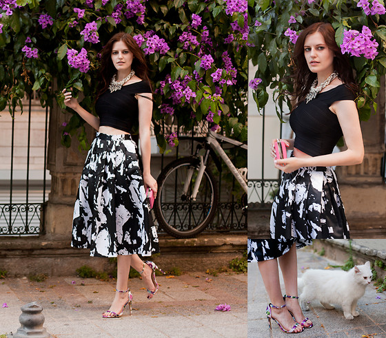 Viktoriya Sener - On Sixth Cloud Top, On Sixth Cloud Skirt, Yaoung Hungry Free Necklace, Zealotries Clutch, Missguided Sandals - BLACK MIDI