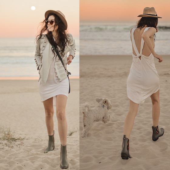 Elle-May Leckenby - Breeze Backless Dress, Boda Skins Napoleon Military Style Leather Jacket - Magic