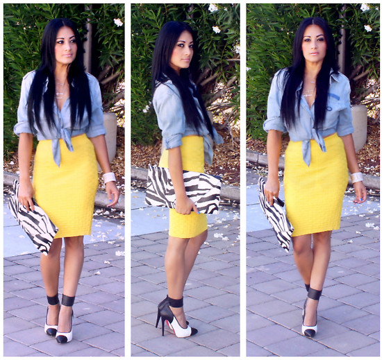 Marina Hidalgo - Oasap Bodycon Knitted Skirt, Forever 21 Chambray Shirt, 2b Bebe Zebra Clutch, Shoedazzle Two Tone Heels - There Is No Cosmetic For Beauty Like Happiness