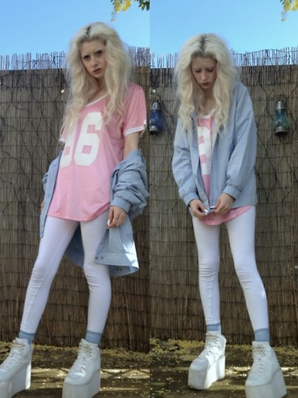Laura King - Project Social T Jersey Tee, Charity Shop Blue Vintage Jacket, Ebay White Leggings, Yru Qozmo Hi - Baby Colours