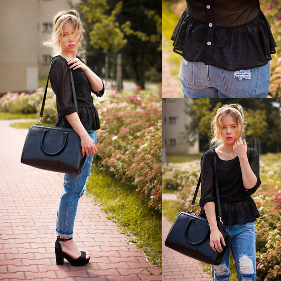 Wioletta Mary Kate - Frontrowshop Pants, Blackfive Bag, Blackfive Blouse, Bershka Shoes - Come back home 14.07