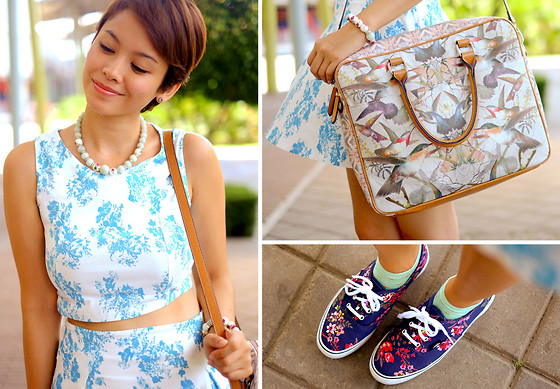 Bea Benedicto - Curtsy Matching Crop Top And Skirt, Parfois Birds Of Paradise Bag, Vans Floral Platform Sneakers, Angel Strings Floral Necklace And Bracelet - Flora and Fauna