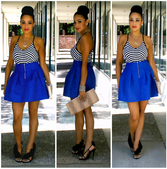 Marina Hidalgo - Romwe Skirt, Forever 21 Stripe Top, Aldo Clutch, Bakers Shoes Heel Sandals - You Could Make A Wish Or You Could Make It Happen