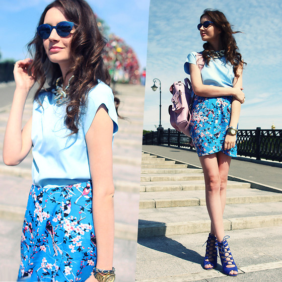 Anna Brain - 6ks Asymmetrial T Shirt, 6ks Blue Bird Printing Skirt, Grafea Hari Lilac Bagpack, Oasap Chain Oversized Necklace, Marc By Jacobs Rock Chronograph Watch - MOOD IN THE WEATHER