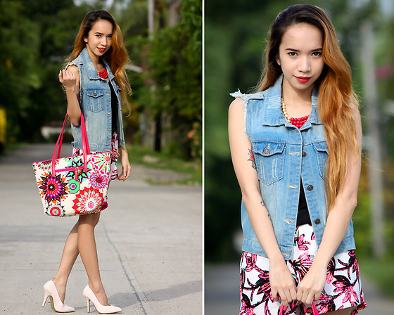 Wicked Ying NEW - Oasap Denim Vest, Blackfive Clothing Floral Skort, Maxene's Printed Tote - Prints in Hot Pink