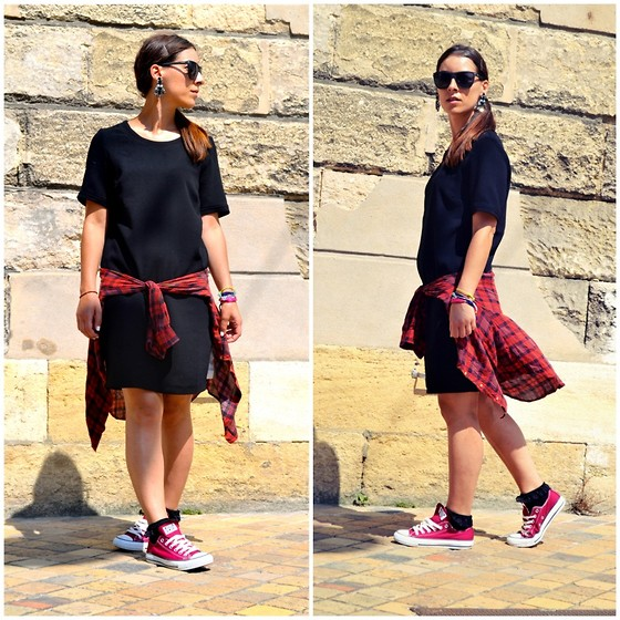 Alexandra DAP - Les 3 Suisses Dresse, Zara Shirt, Converse Sneackers, Asos Socks, Mango Jewelry, Minkpink Sunglasses - Red and black ...
