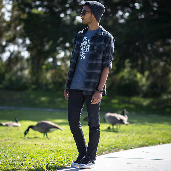 Josh Walter - Shirt, Pendleton Flannel, Topman Beanie, Rick Owens Jeans, Comme Des Garçons Shoes - The Bird Of Music.