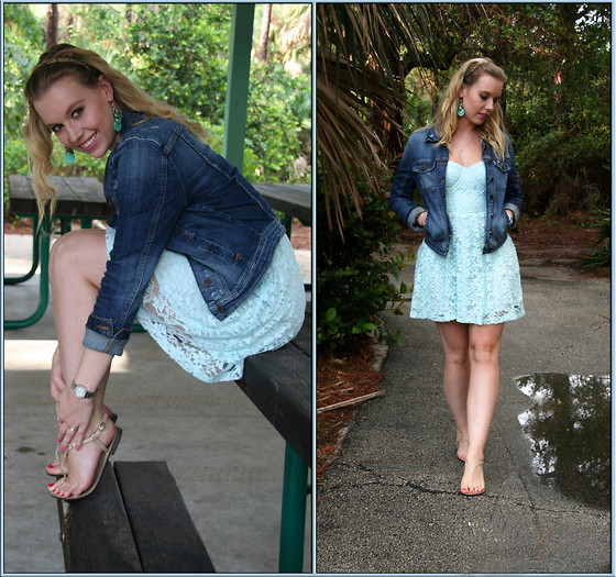 Laurie Lorallure - Guess? Denim Jacket, Abercrombie & Fitch Dress, Aldo Shoes, Guess? Watch - GREEN ADDICTION