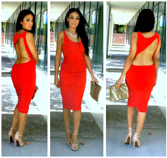 Marina Hidalgo - Oasap Graceful Cut Out Back Detail Midi Dress, Ebay Sequin Clutch, Justfab Heels - A Red Dress, Is Red Hot