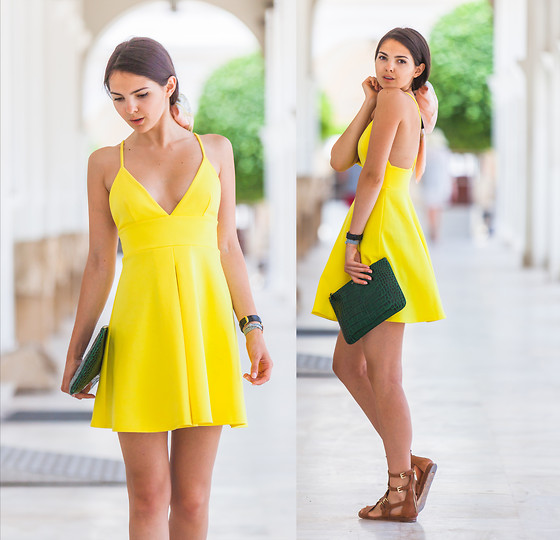 Doina Ciobanu - Yellow Skater Dress - YELLOW DROPS
