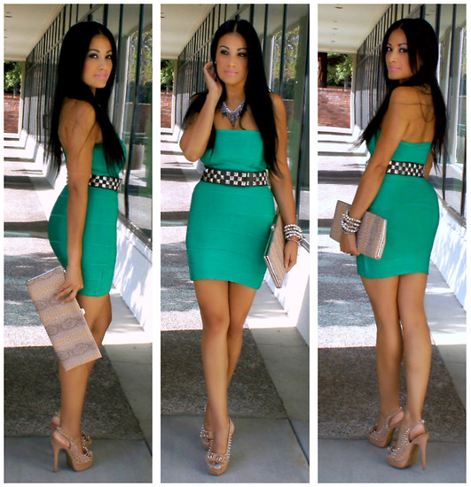 Marina Hidalgo - Forever 21 Bodycon Dress, Charlotte Russe Studded Heels, Ebay Studded Belt, Aldo Clutch, Charlotte Russe Bracelets - Oldies But Goodies