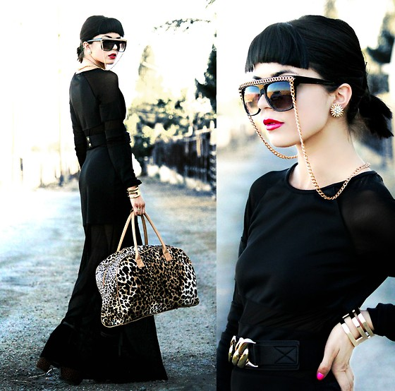 KENDALL SANCHÈZ - Claire's Chained Sunglasses, Vintage Clip On Flower Burst Earring, Maxi Dress, Forever 21 Chain Belt, Forever 21 Cuff, Tilly's Leopard Tote - .Back To Black.