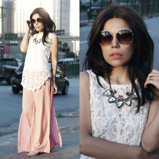 Priscila Diniz - Pants, Similar Blouse, Heels, Necklace, Sunnies - HAPPINESS IS A COMBINATION OF LUCKY WITH GREAT CHOICES