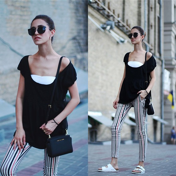 Tina Sizonova - Choies Pants, Birkenstock Sandals, Michael Kors Bag, Zerouv Sunny - Striped pants in the summer