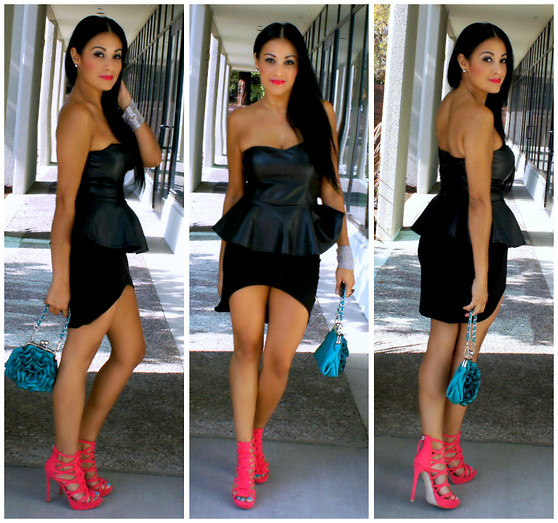 Marina Hidalgo - Forever 21 Peplum Strapless Top, Romwe Assymetric Skirt, Justfab Pink Cage Heels - Men I May Not Know, But Shoes, Shoes I Know!
