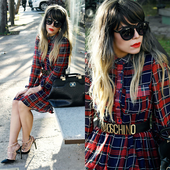 Priscila Diniz - Moschino Belt, Plaid Dress, Pumps, Ostrich Bag > Similar, Sunglasses > Similar - Simplicity