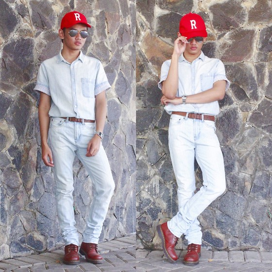 Sammy Nugraha - H&M Red Hat, Topman Tshirt, Pull & Bear Pants, Topman Leather Belt - 90's Look