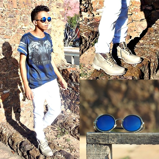 Israel Lyma - Dafiti Bota Five Blu Risca Bege, Aliexpress Blue Sunglasses, Pants, Riachuelo Tiger - Just Me