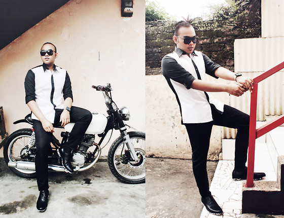 Dhize Caraka - Caraka My Own Design Shirt, Le Spec Sunglasses, Pedro Shoes - BlackandWhite