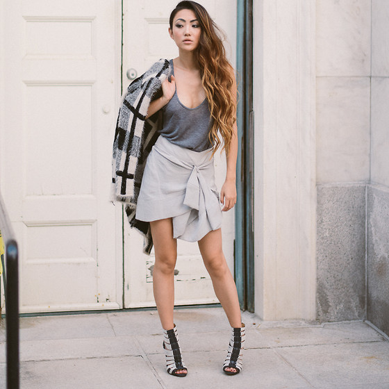Jessica Wang - Windowlane Knit Jacket, Iro Skirt, L.A.M.B Booties - KEEP IN CHECK