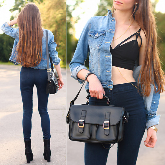 Ariadna M. - Style Moi Black Crop Top, Mode Kungen Black Suede Boots, Sheinside Denim Jacket, Romwe Denim High Waisted Pants - Denim