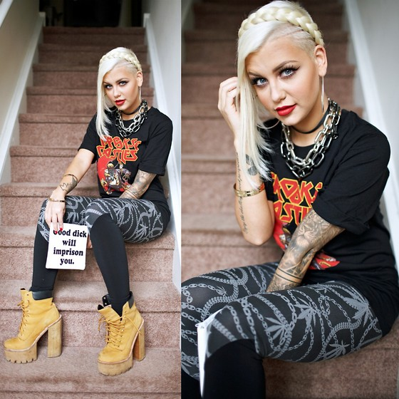 Samii Ryan - Crooks N Castles Shirt, Crooks N Castles Leggings, Jeffrey Campbell Boots, Most Mob Official Pouch, By Samii Ryan Bangle - 666 The Number Of The Beast