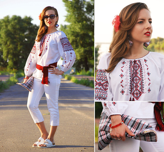 Iren P. - Embroidered Ethnical Ukrainian Blouse, Céline Celine Inspired Berlingot Checked Clutch, Zara Birkenstock White Flat Sandals - EMBROIDERY