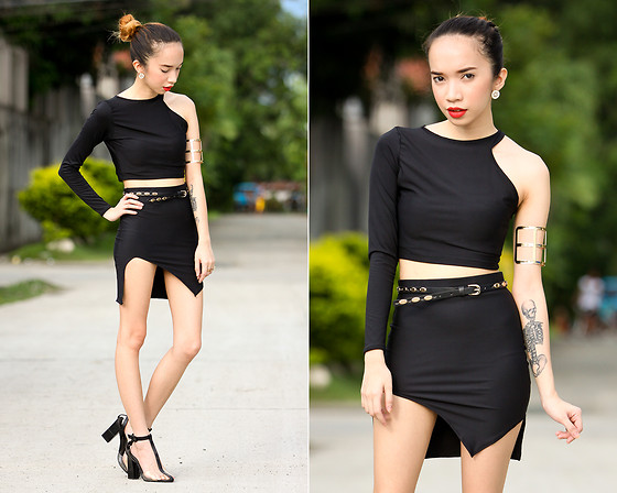 Wicked Ying NEW - Miss Mannequin Cutout Top And Skirt Set, Oasap Transparent Heels, Her Fashion Box Arm Cuff - Black Beauty