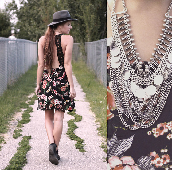 Breanne S. - 6ks Floral Dress, H&M Coin Necklace, H&M Wide Brimmed Hat - Coin Laundry