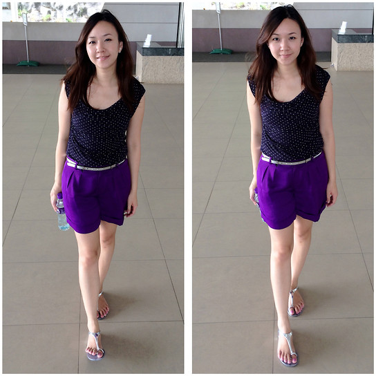 Rita C - H&M Polka Dot Top, Ralph Lauren Purple Shorts - Violet_080914