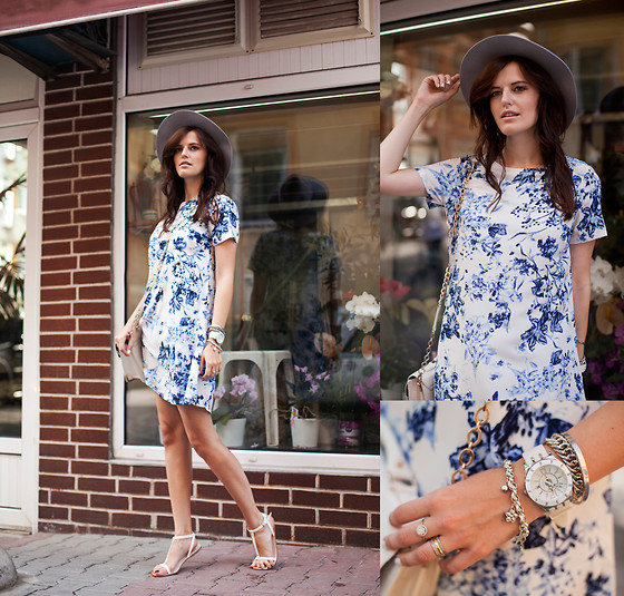 Viktoriya Sener - Asos Hat, Black Five Dress, Mango Sandals - LITTLE BLUE FLOWERS