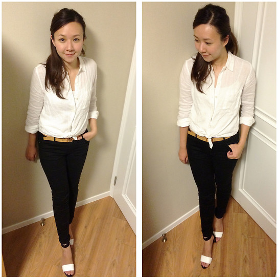 Rita C - Gap Simple White Shirt, Zara White Stripe Sandals - Simply no grey_081214