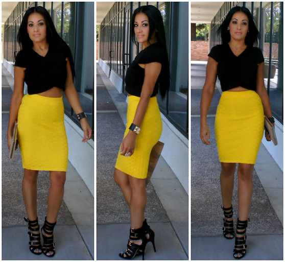 Marina Hidalgo - Oasap Bodycon Knitted Skirt, Tj Maxx Crop Top, Shoedazzle Heel Strappy Sandals, Forever 21 Clutch - I've Been Gone For A While But I'm Back Beautiful People