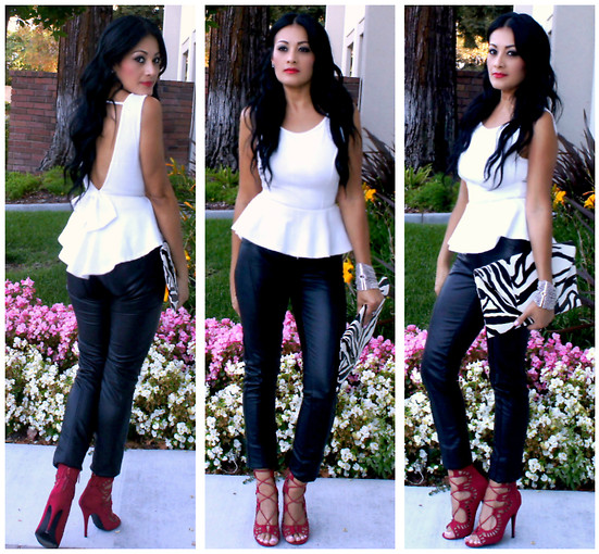 Marina Hidalgo - Forever 21 Peplum Top, Romwe Faux Leather Pants, Justfab Heeled Sandals, Bebe Zebra Clutch - Elegance Is Not Being Noticed, It's About Being Remembered