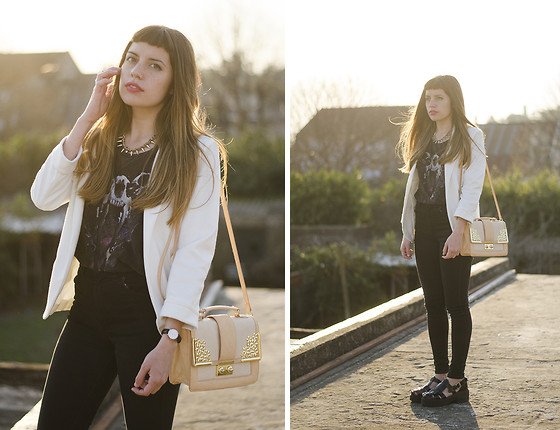 THE CLOSET Blog - Mart Of China White Blazer, Asos Pink And Golden Satchel, Daniel Wellington Watch, 47street Gladiator Patent Sandals, Complot Rock Grunge Skull Printed Top, Complot Rock High Waisted Black Jeans - Sunset | The Closet blog