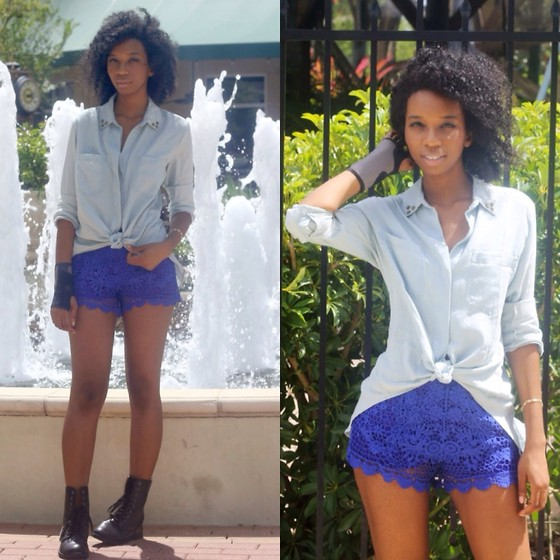 Alexa C - Chambray Shirt, Crochet Shorts, Combat Boots - Through The Wire