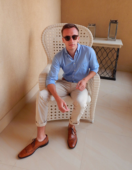 Sven A - Boss Orange Light Blue Shirt, Strokesman's Chinos, Asos Sunglasses - Sand and Sea
