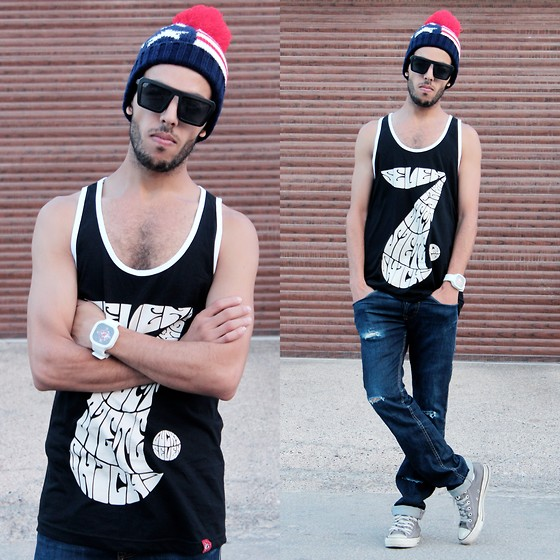 Faissal Yartaa - Yakitoko Time Keeper, Yakitoko Lucky Seven Tank, Yesfor Stylish Vintage Unisex Uv Protection Square Frame Sunglasses Matte Black, Tomtop Autumn Winter Men Women Knitted Hat American Flag Star Stripes Bobble Beanie Ski Hat Thick Cap Unisex Headwear - Love Lockdown