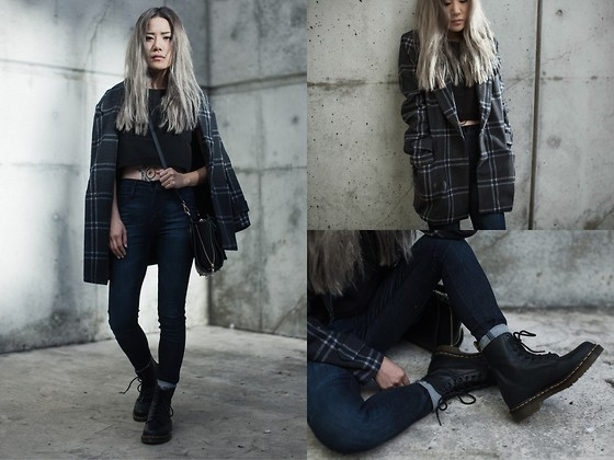Eugénie Grey - Joa Classic Plaid Coat, Dailylook Boxy Crop Top, Dr. Martens Pascal Boots In Virginia - Grey Area