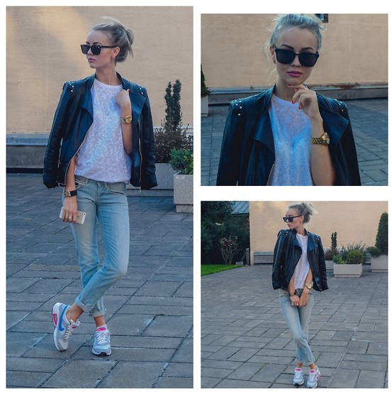 Meryl M - River Island White Shirt, Mohito Studded Leather Jacket, Nike Air Max, Guess? Boyfriend Jeans - BASIC