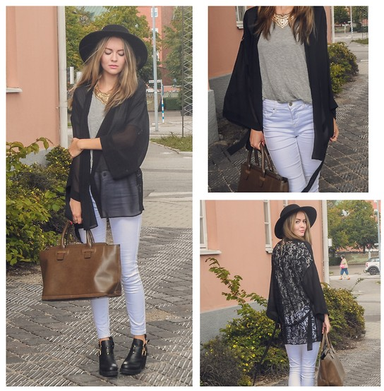 Meryl M - H&M Lace Kimono, Topshop White Jeans, Dinsko Cut Out Ankle Boots, H&M Black Hat, H&M Grey Shirt, Zara Brown Handbag - LADY IN FALL
