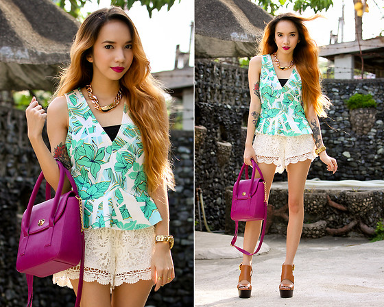 Wicked Ying NEW - Zara Floral Peplum Top, 6ks Crochet Shorts, Maxene's Candy Bag - Frozen Things They All Unfreeze