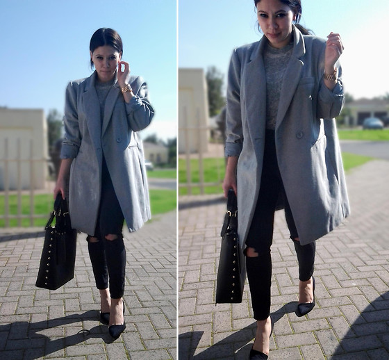 Tneale Williams - Foschini Oversized Grey Coat, Jay Jays Grey Crew Neck, Ripped Black Skinny Jeans - I'll be Pushing On.